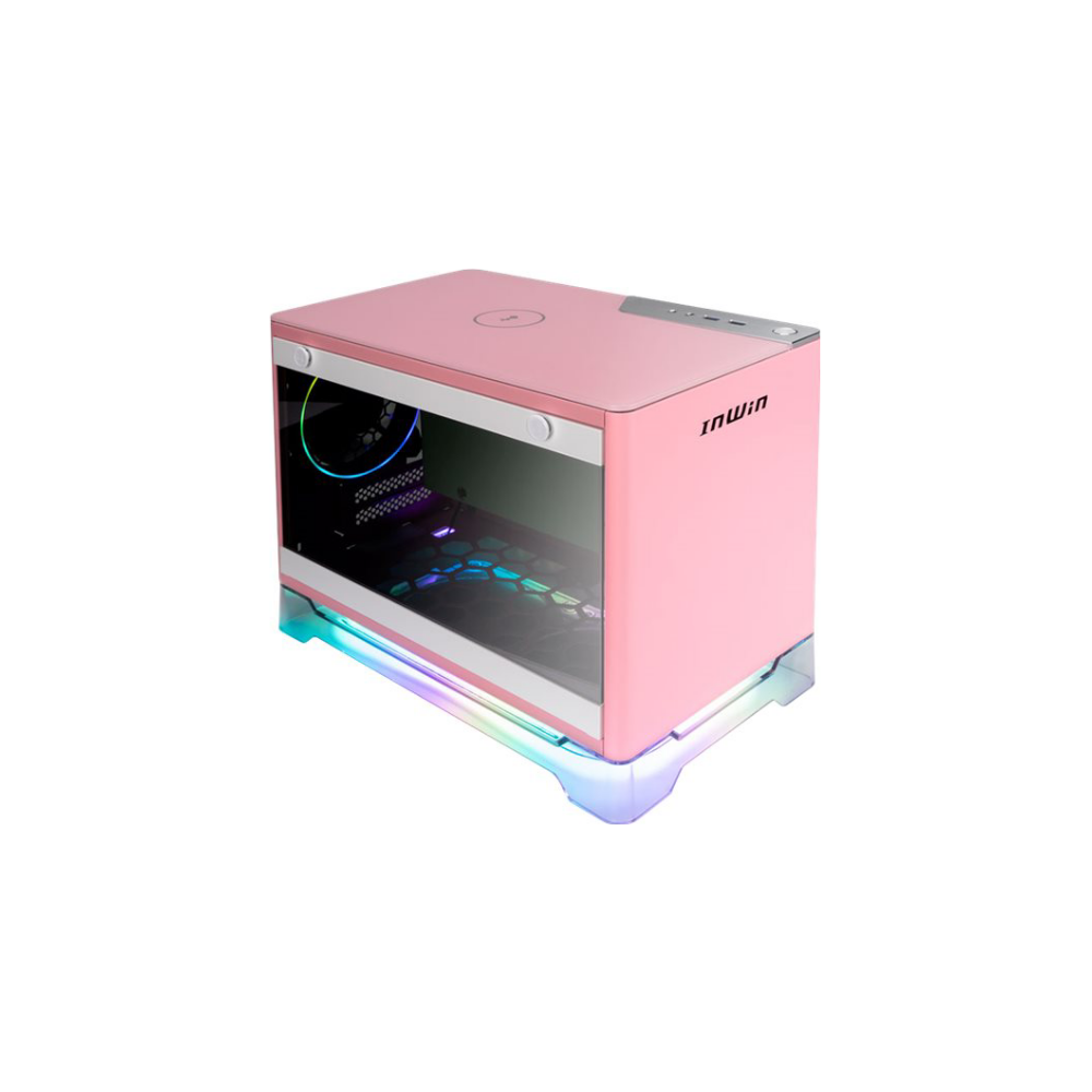 A large main feature product image of EX-DEMO InWin A1 Plus Pink Mini-ITX Case w/ Tempered Glass Side Panel