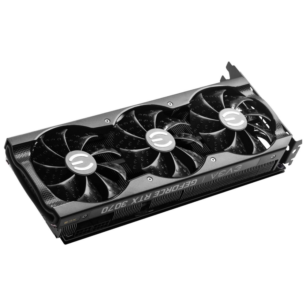 A large main feature product image of eVGA GeForce RTX 3070 XC3 Ultra 8GB GDDR6
