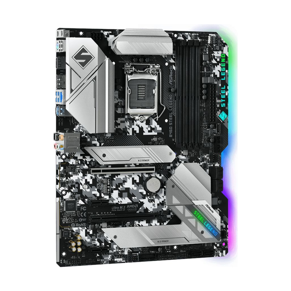 A large main feature product image of ASRock B460 Steel Legend LGA1200 ATX Desktop Motherboard