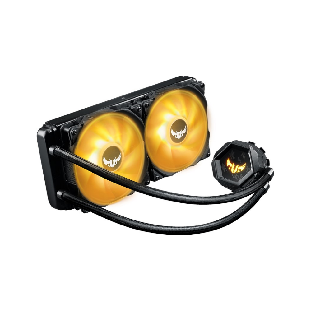 A large main feature product image of ASUS TUF Gaming LC 240mm RGB AIO Liquid Cooler
