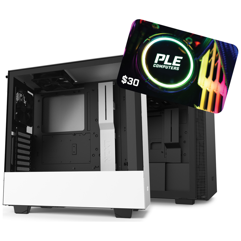 A large main feature product image of NZXT H210 or H510 Selected Case with free $30 PLE Gift Card