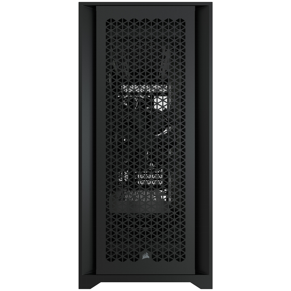 A large main feature product image of Corsair 5000D Airflow Black Case w/ Tempered Glass Side Panel