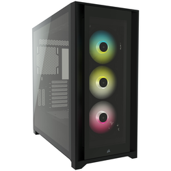 Product image of Corsair iCue 5000X RGB Black Case w/ Tempered Glass Side Panel - Click for product page of Corsair iCue 5000X RGB Black Case w/ Tempered Glass Side Panel
