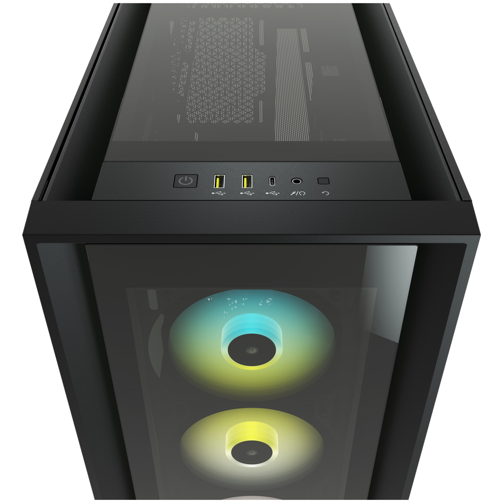 A large main feature product image of Corsair iCue 5000X RGB Black Case w/ Tempered Glass Side Panel