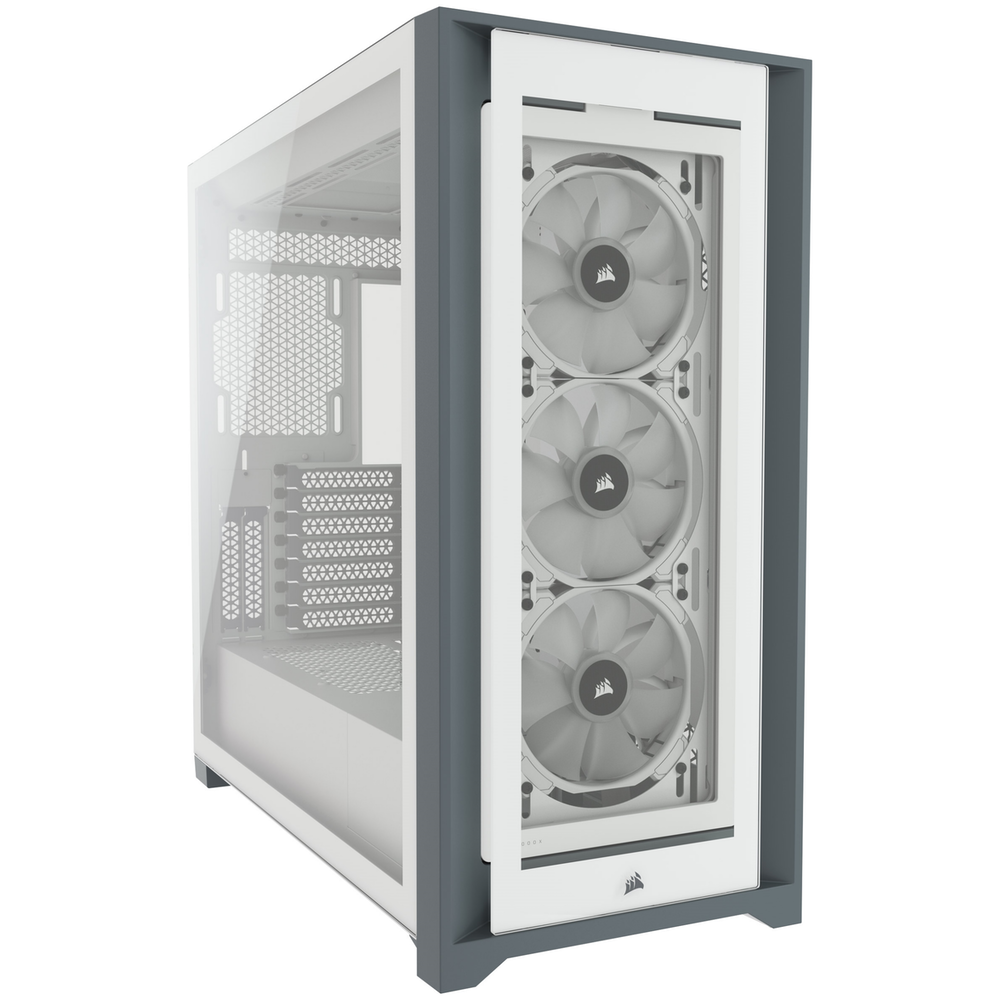 A large main feature product image of Corsair iCue 5000X RGB White Case w/ Tempered Glass Side Panel
