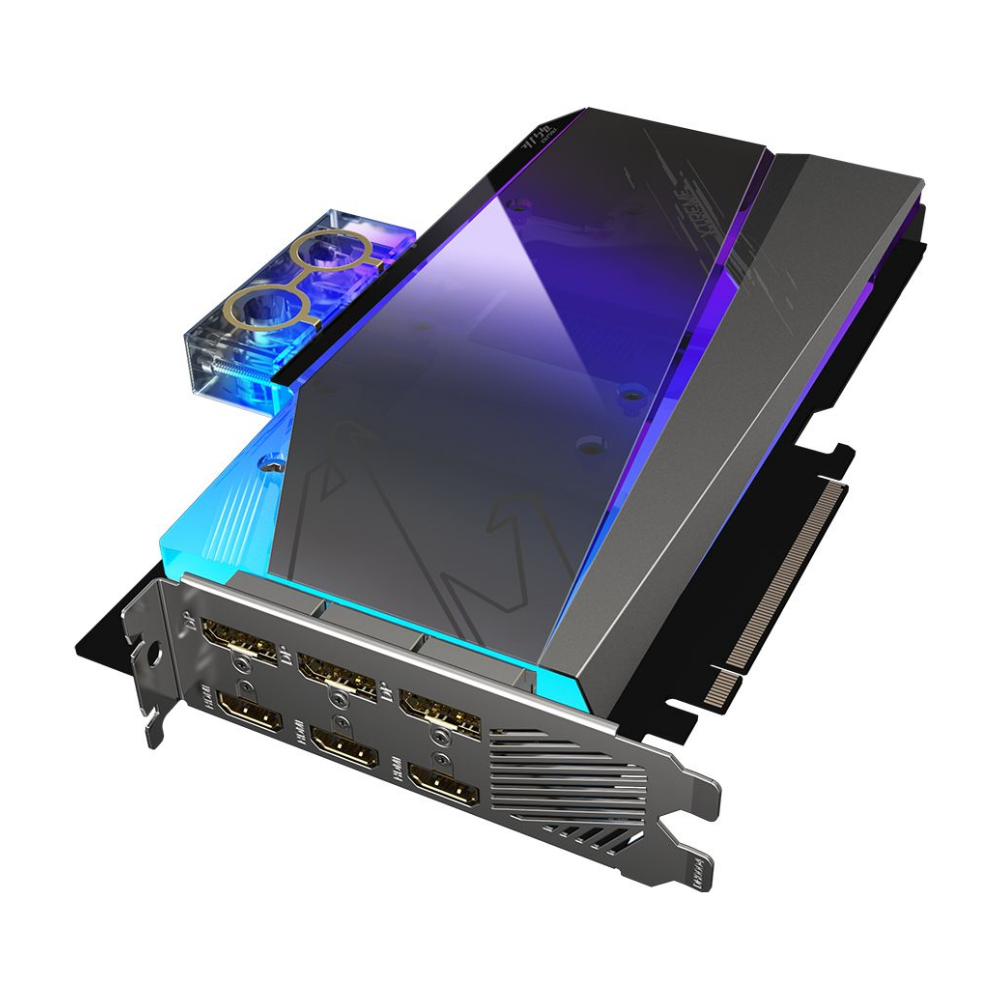 A large main feature product image of Gigabyte GeForce RTX3080 Xtreme Waterforce WB 10GB GDDR6X