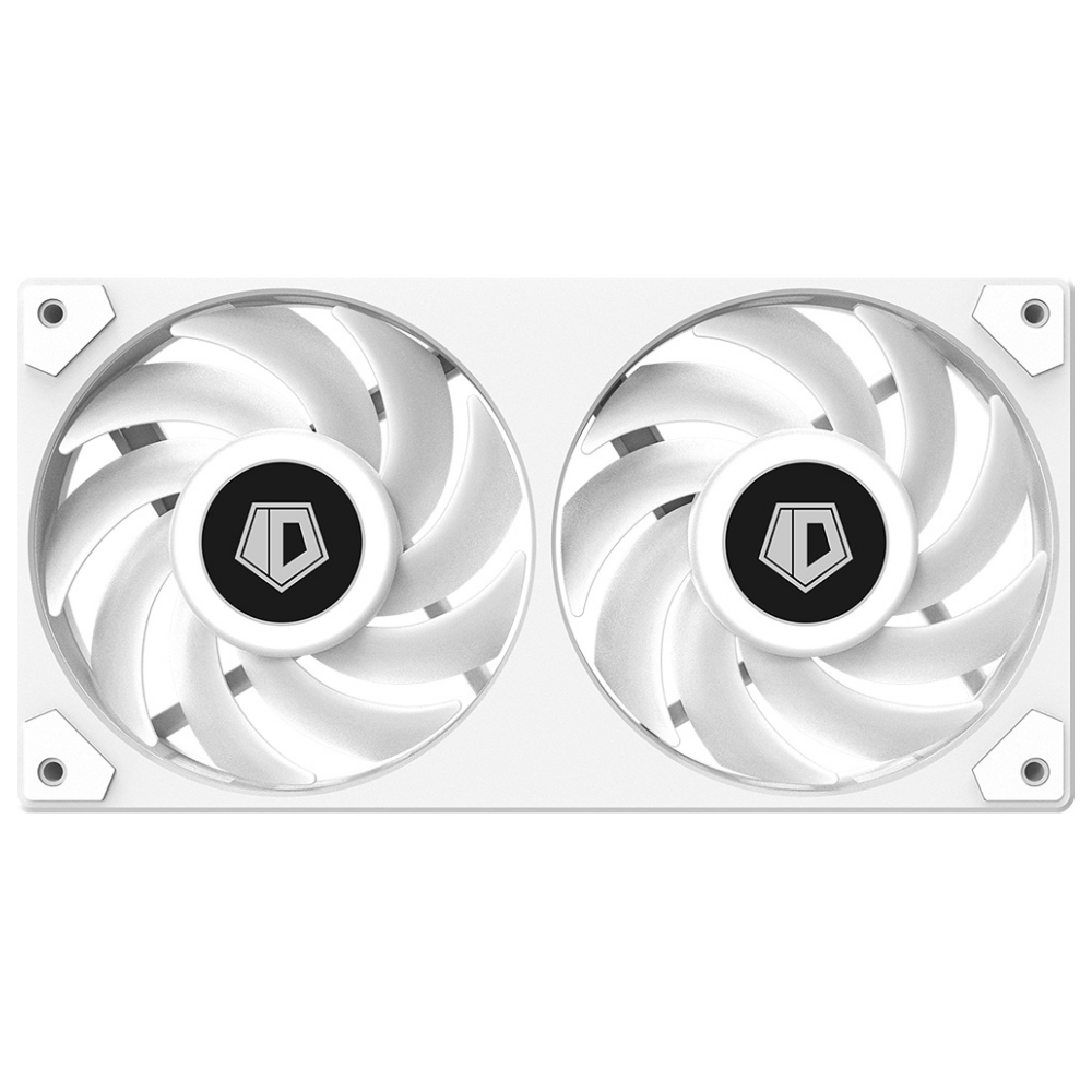A large main feature product image of ID-COOLING IceFan 240 ARGB Snow 2-in-1 Cooling Fan