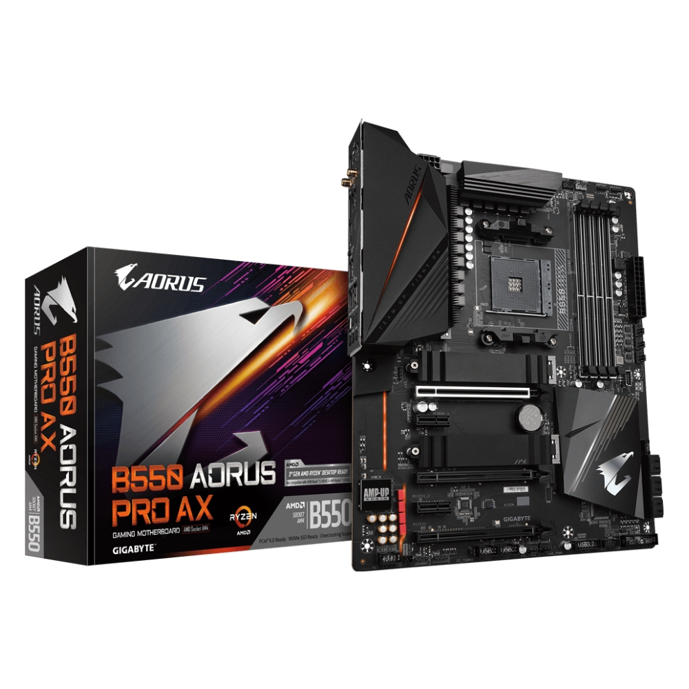 A large main feature product image of Gigabyte B550 Aorus Pro AX AM4 ATX Desktop Motherboard