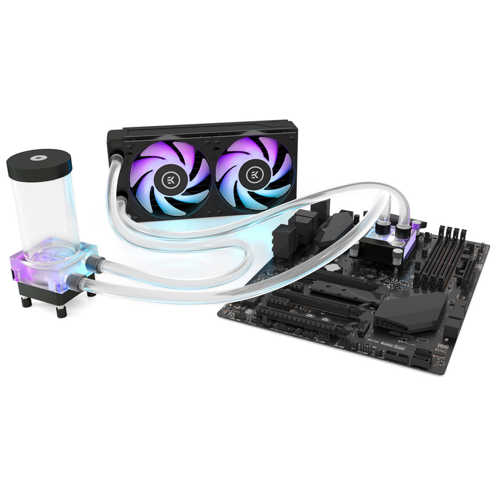A large main feature product image of EK Classic Kit D-RGB P240 AIO Liquid Cooling Kit - Black Nickel Edition