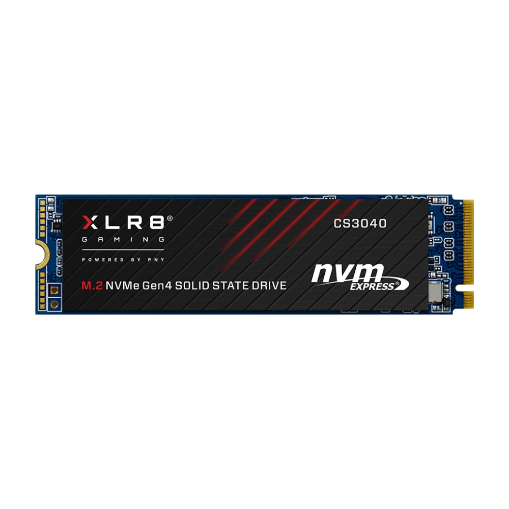 A large main feature product image of PNY XLR8 500GB NVMe PCIe Gen 4 M.2 SSD