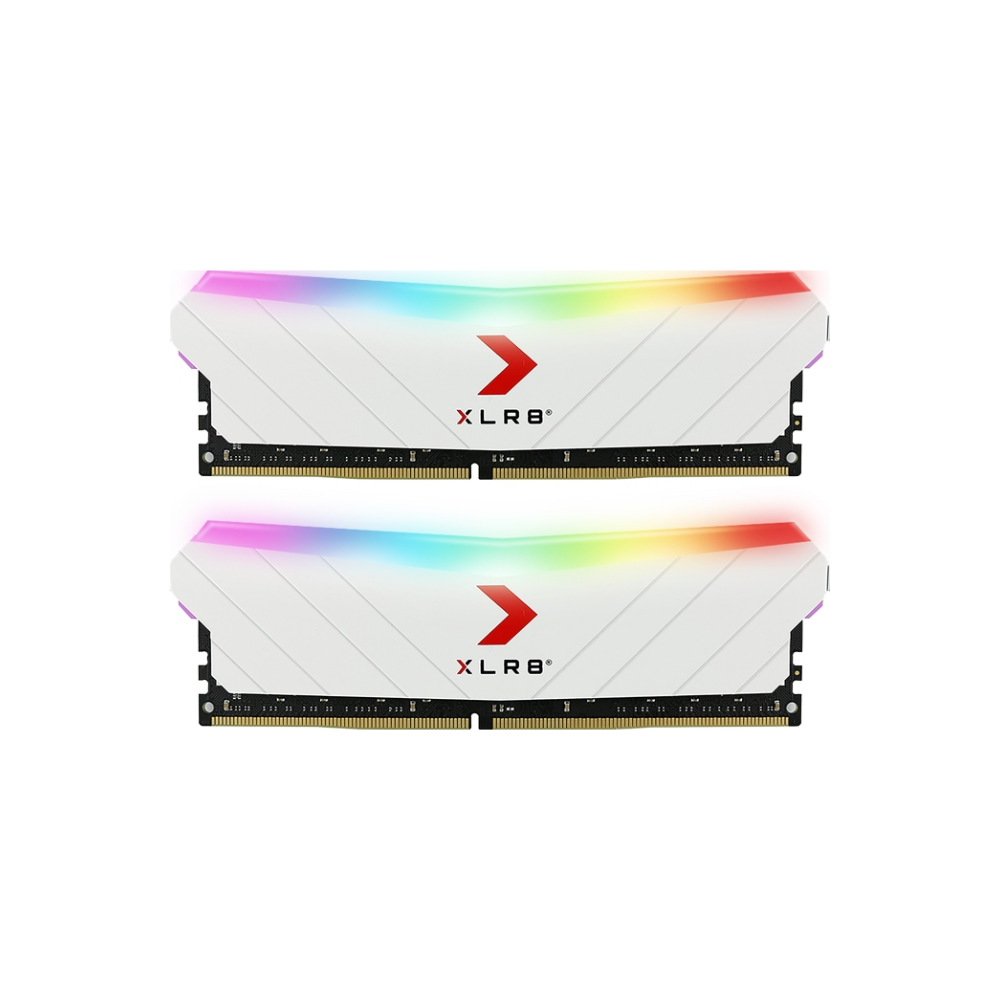 A large main feature product image of PNY XLR8 16GB (2x8GB) EPIC-X RGB Gaming DDR4 C16 3200Mhz - White Edition