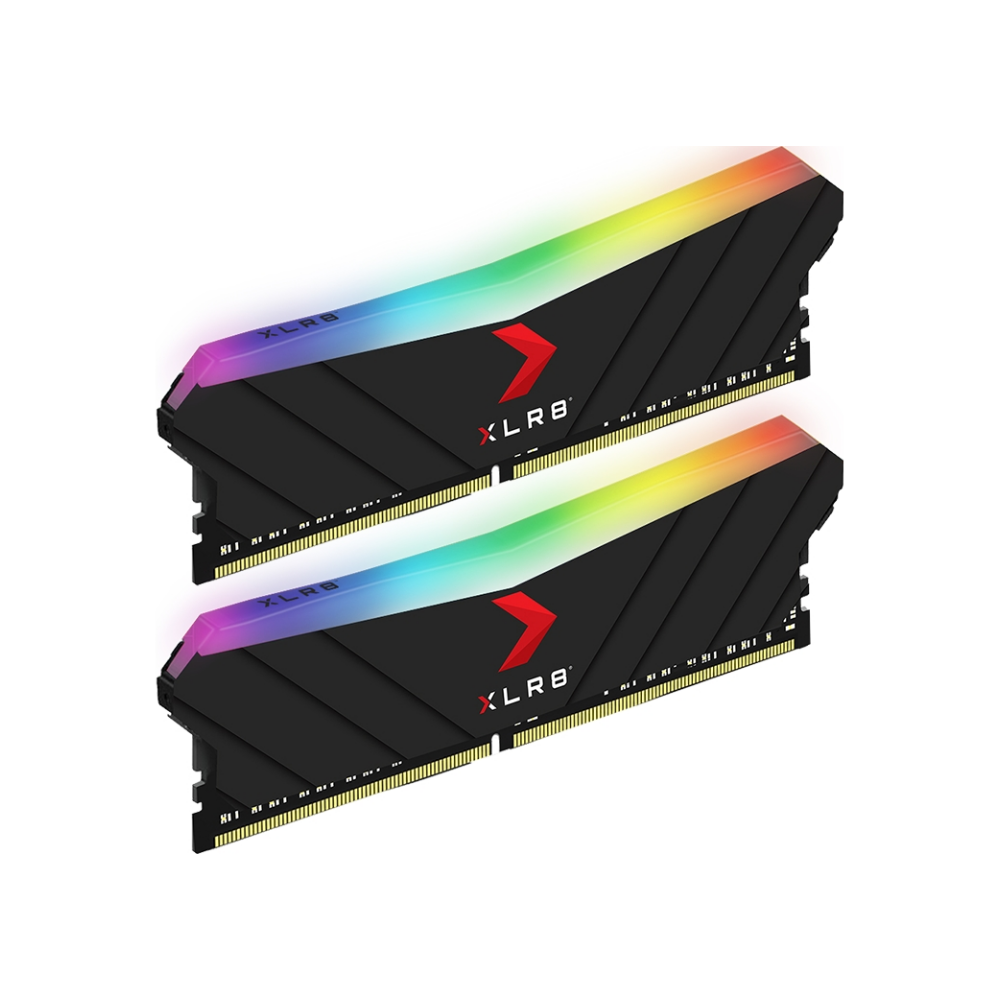A large main feature product image of PNY XLR8 16GB (2x8GB) EPIC-X RGB Gaming DDR4 C16 3200Mhz - Black Edition
