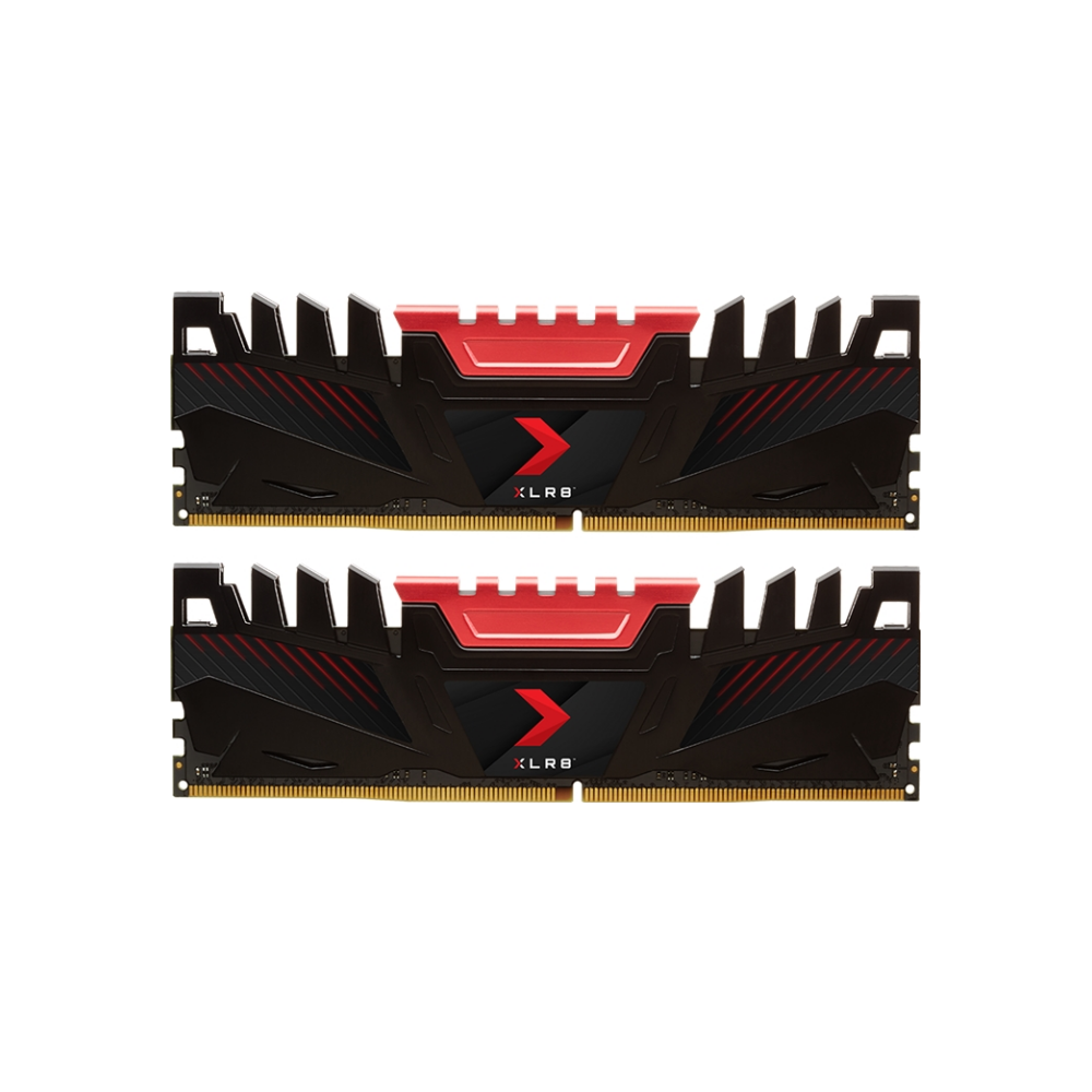 A large main feature product image of PNY XLR8 16GB (2x8GB) DDR4 C16 3200MHz