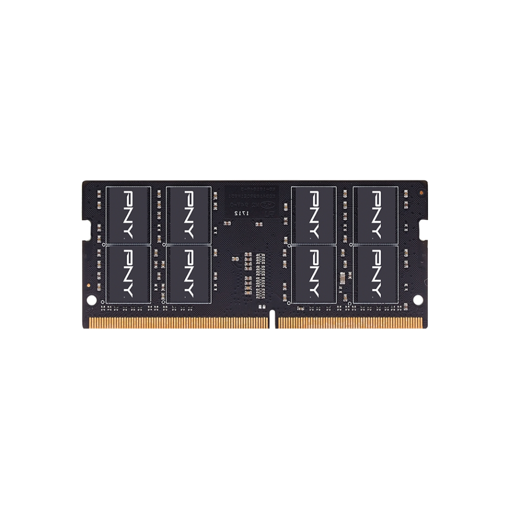 A large main feature product image of PNY Performance 16GB DDR4 C19 1.2v SO-DIMM 2666Mhz