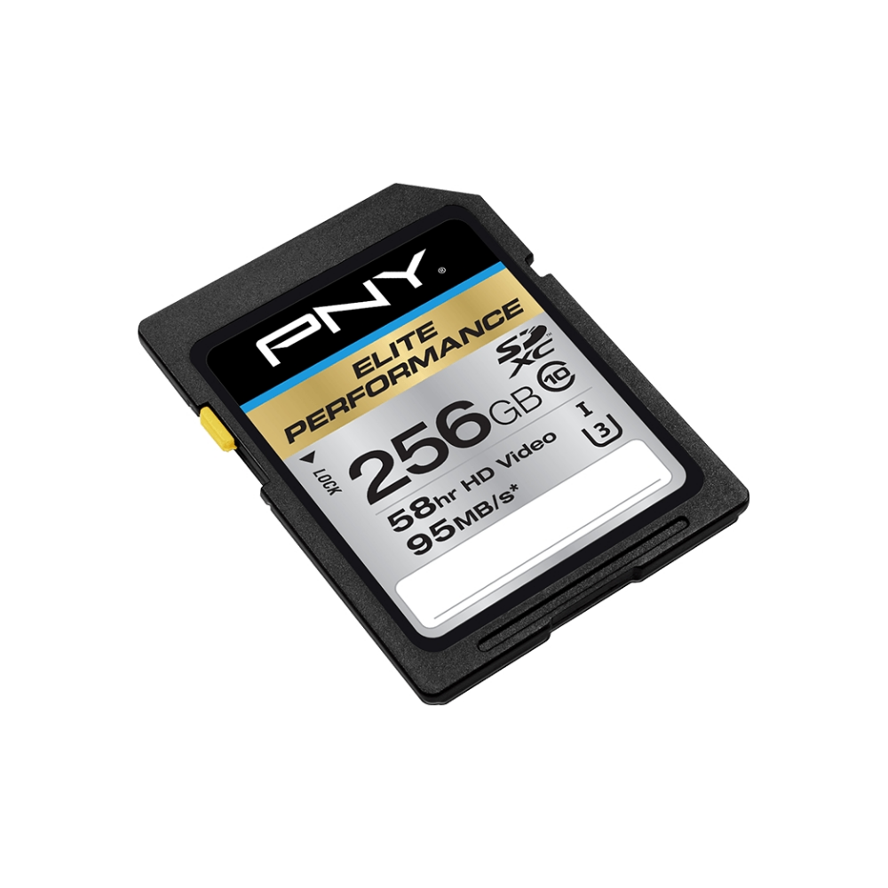 A large main feature product image of PNY 256GB Elite-X Class 10 U3 SD Flash Card