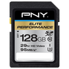 A product image of PNY 128GB Elite-X Class 10 U3 SD Flash Card