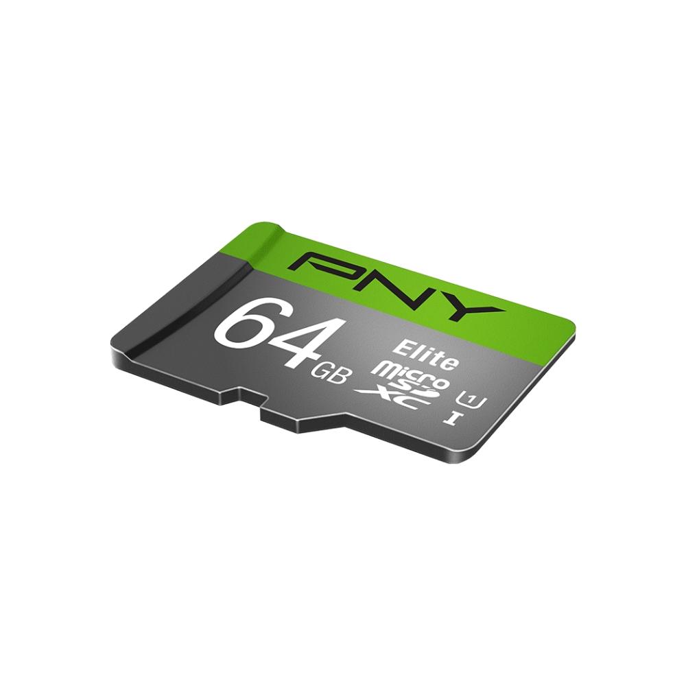 A large main feature product image of PNY 64GB Elite Class 10 U1 MicroSD Card