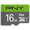 A product image of PNY 16GB Elite Class 10 U1 MicroSD Card