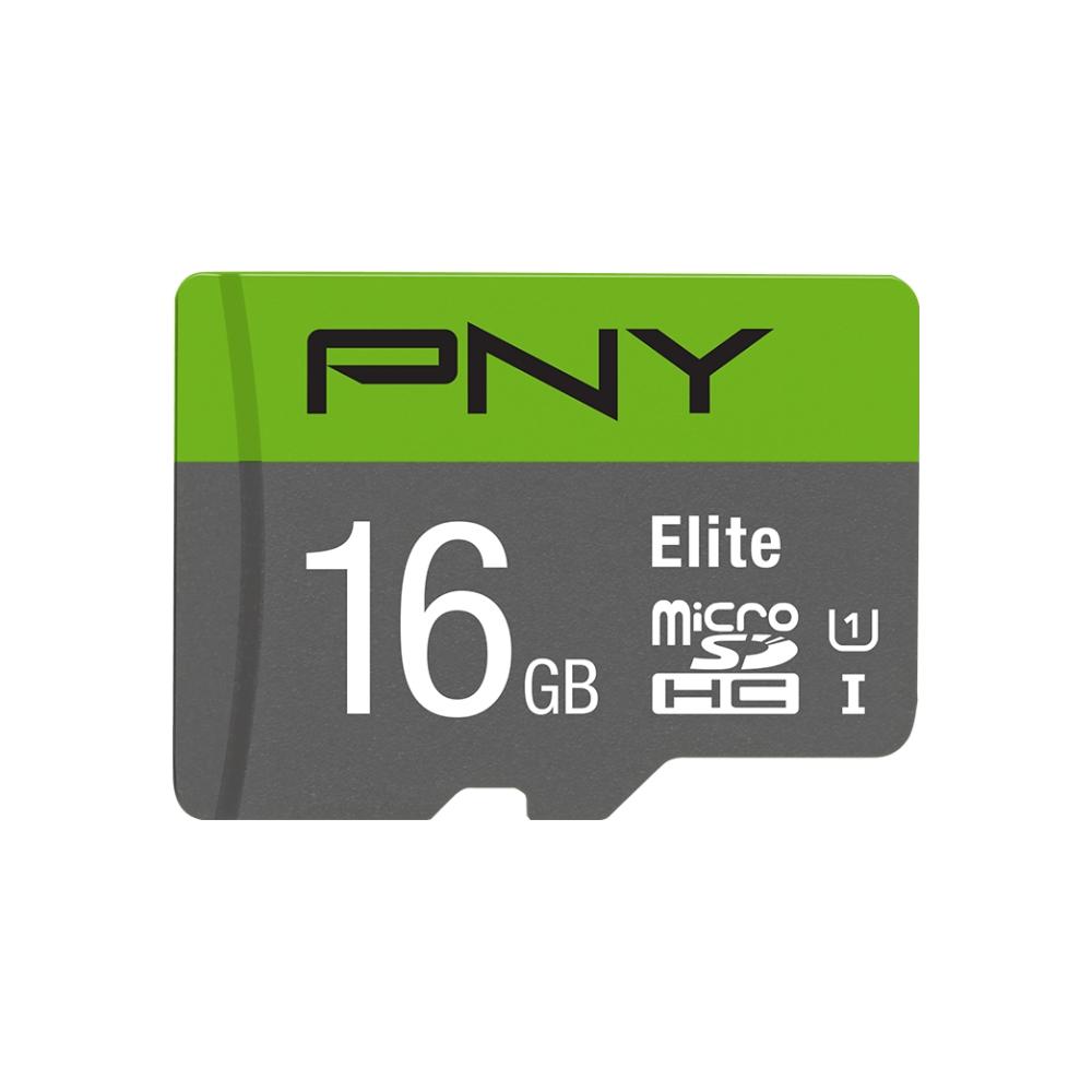 A large main feature product image of PNY 16GB Elite Class 10 U1 MicroSD Card
