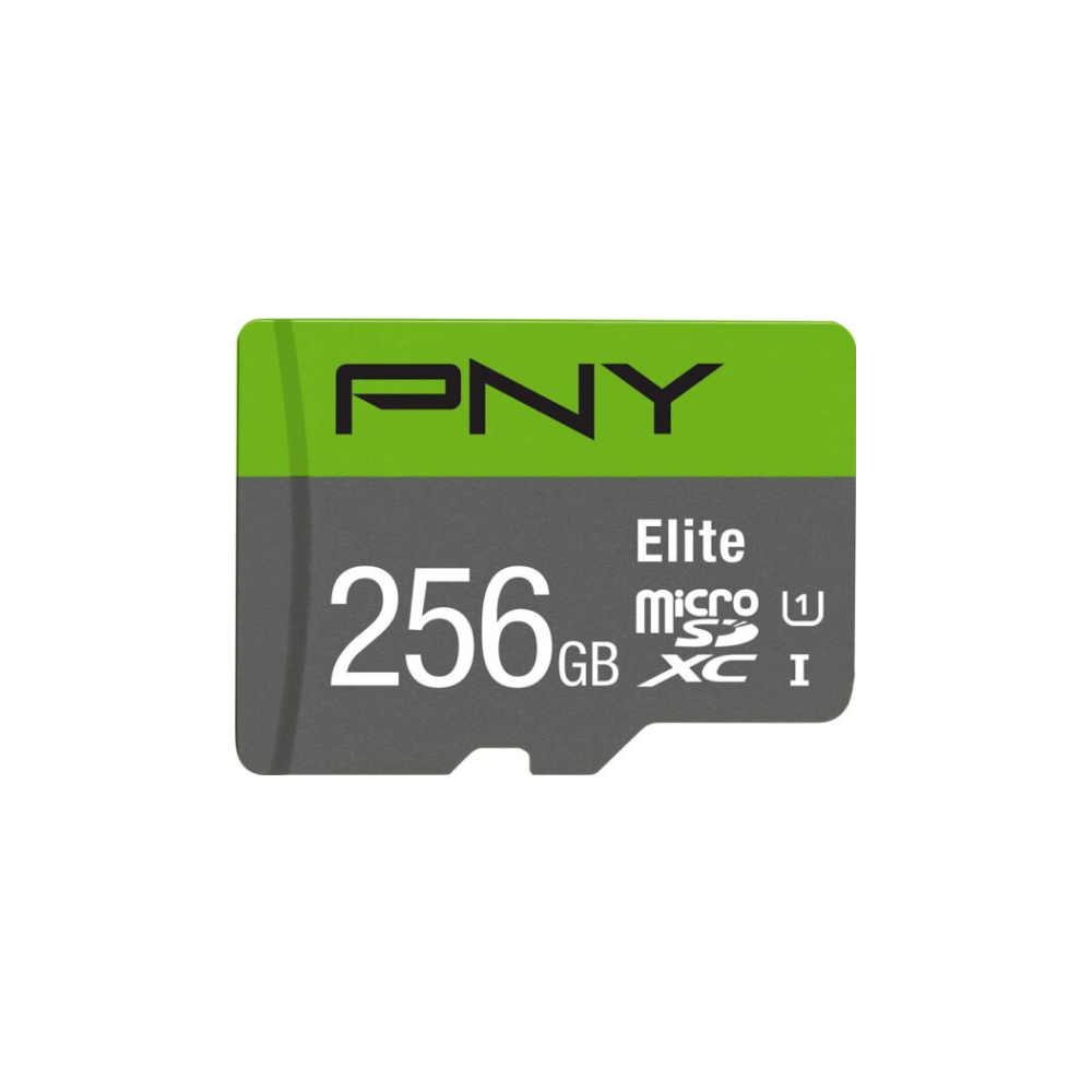 A large main feature product image of PNY 256GB Elite Class 10 U1 MicroSD Card