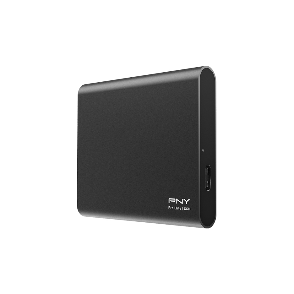 A large main feature product image of PNY 1TB Pro Elite USB 3.1 Gen 2 USB-C Portable SSD