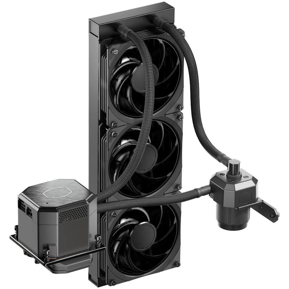 A large main feature product image of Cooler Master MasterLiquid ML360 Sub-Zero AIO Lquid Cooler
