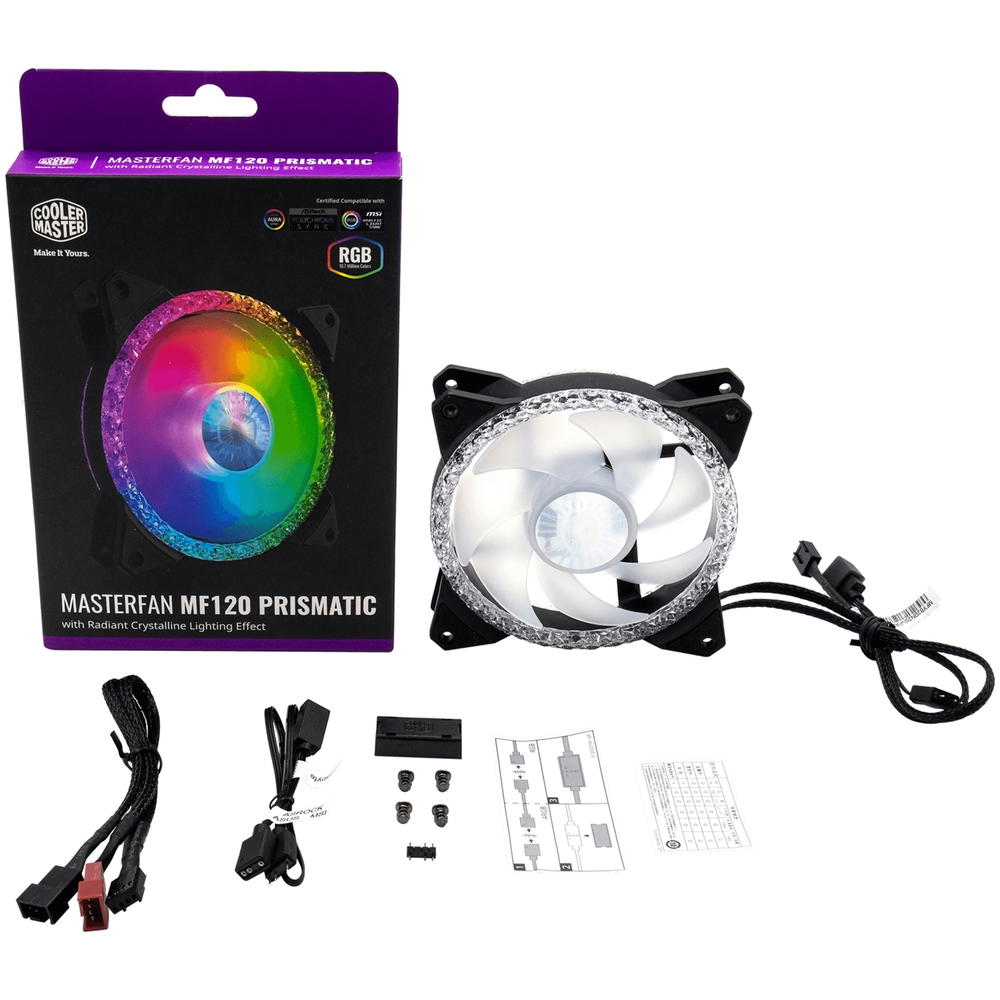 A large main feature product image of Cooler Master MasterFan MF120 Prismatic ARGB Triple Loop 120mm Fan