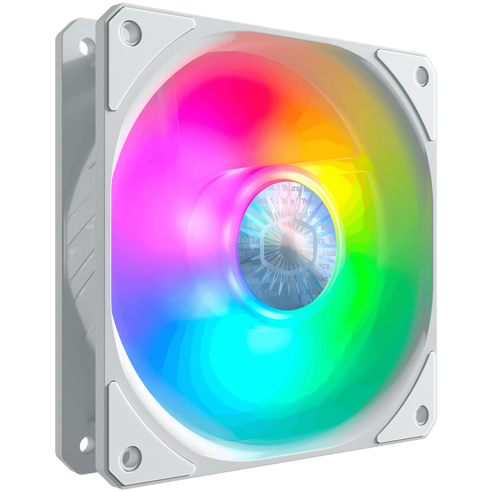 A large main feature product image of Cooler Master SickleFlow 120 ARGB White Edition 120mm Cooling Fan