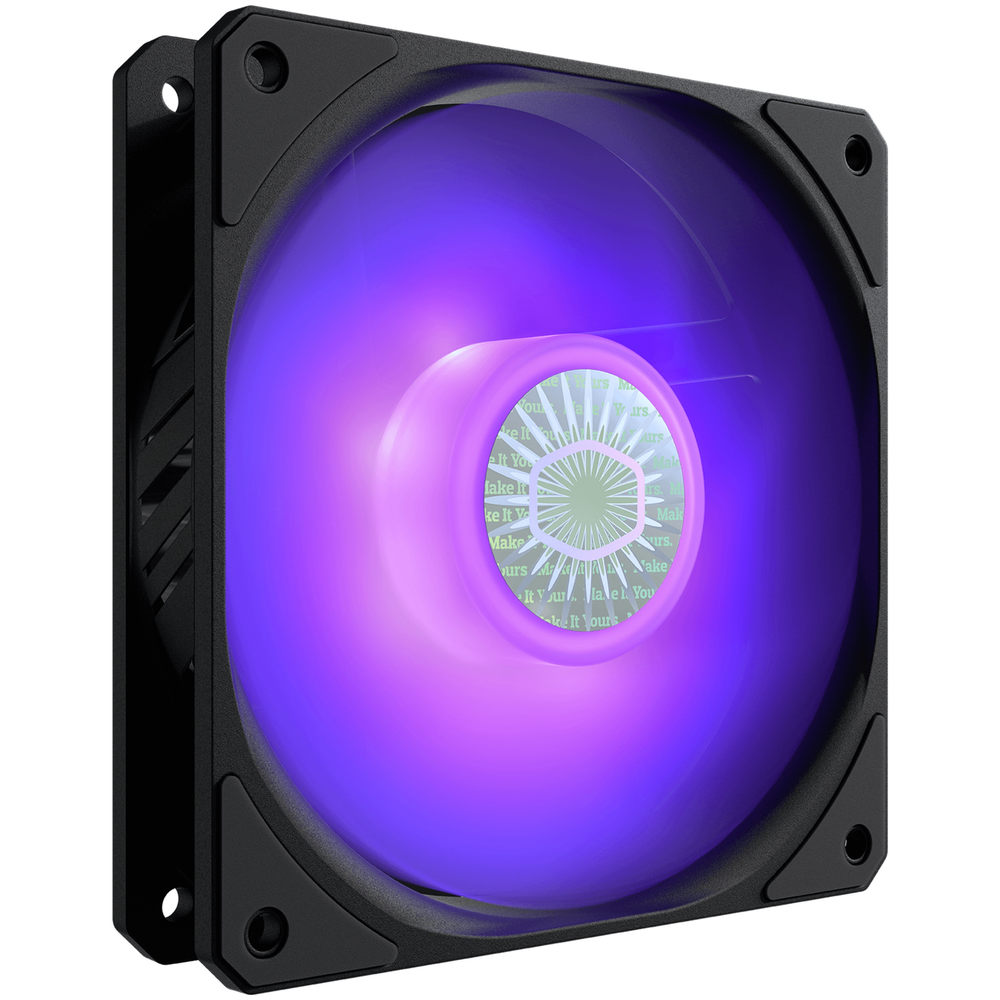 A large main feature product image of Cooler Master SickleFlow 120 RGB 120mm Cooling Fan