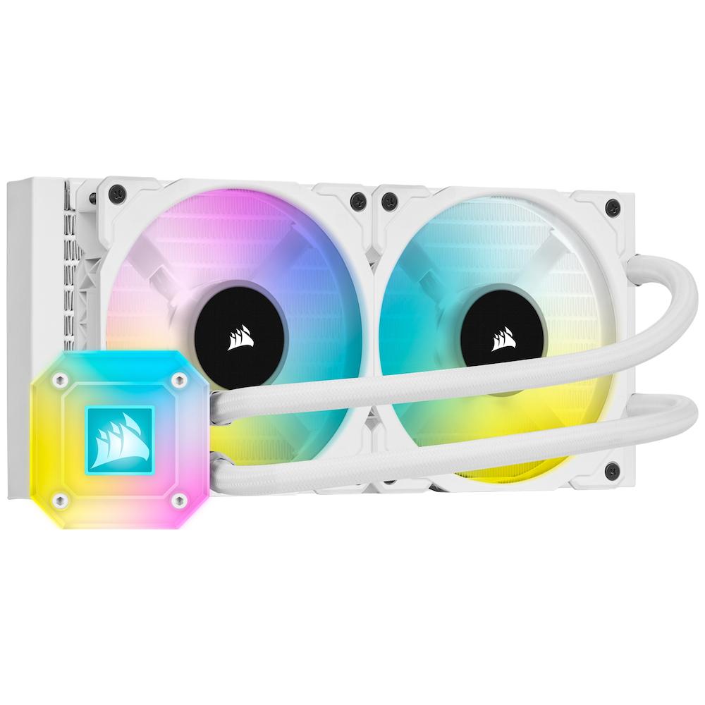 A large main feature product image of Corsair iCue H100i ELITE Capellix AIO Liquid CPU Cooler