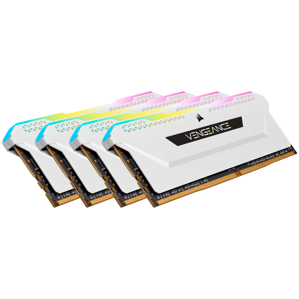 A large main feature product image of Corsair 32GB (4x8GB) DDR4 Vengeance RGB Pro SL C16 3200Mhz - White