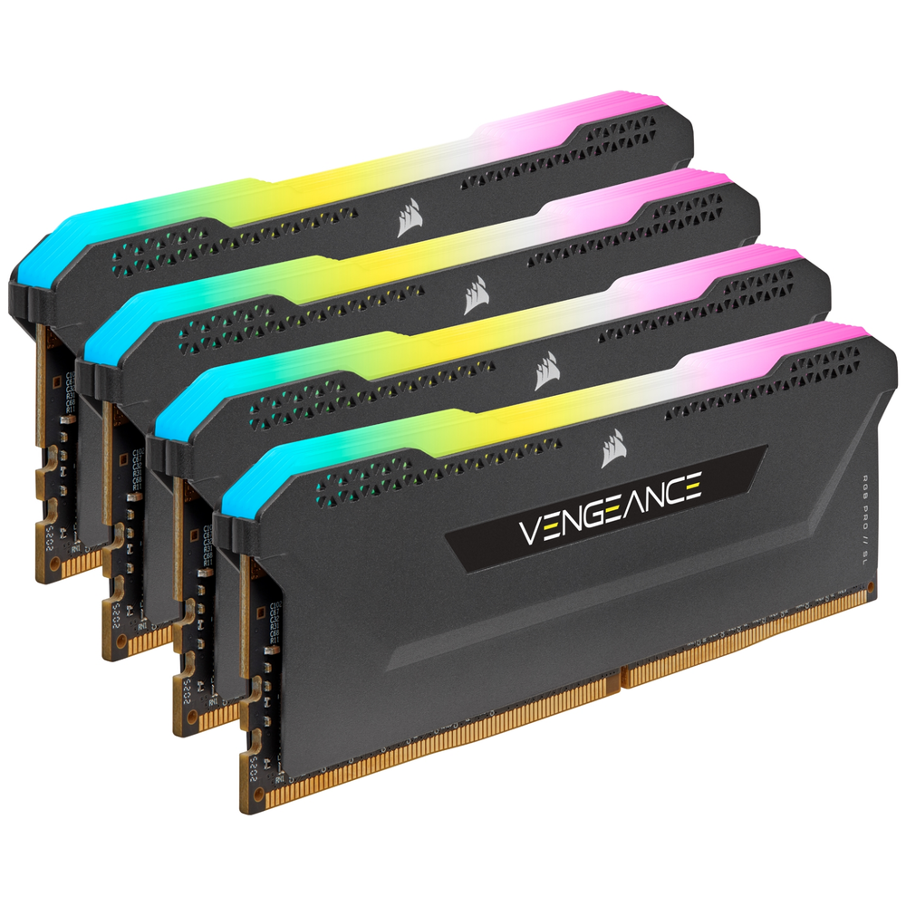 A large main feature product image of Corsair 128GB (4x32GB) DDR4 Vengeance RGB Pro SL C16 3200Mhz