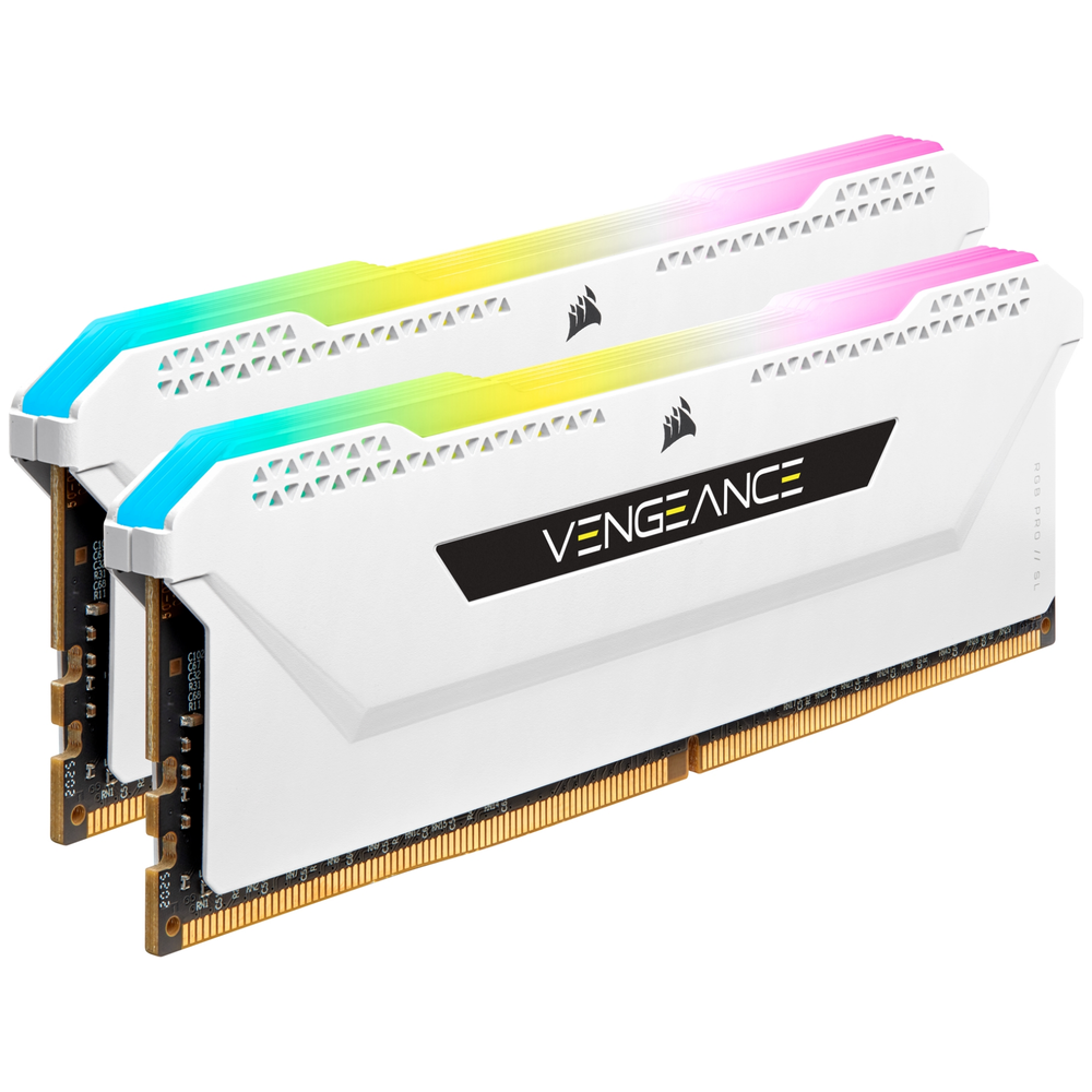A large main feature product image of Corsair 16GB (2x8GB) DDR4 Vengeance RGB Pro SL C16 3200Mhz - White