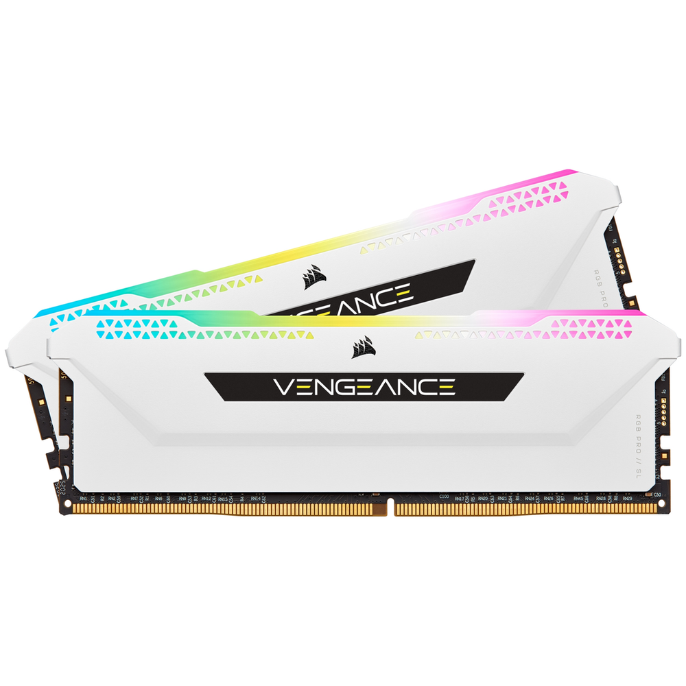 A large main feature product image of Corsair 32GB (2x16GB) DDR4 Vengeance RGB Pro SL C16 3200Mhz - White