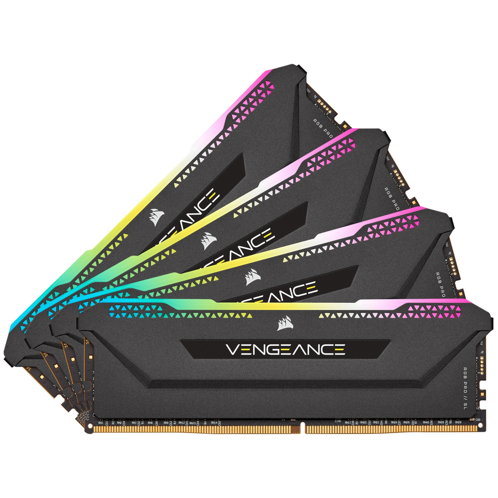 A large main feature product image of Corsair 32GB (4x8GB) DDR4 Vengeance RGB Pro SL C18 3600Mhz