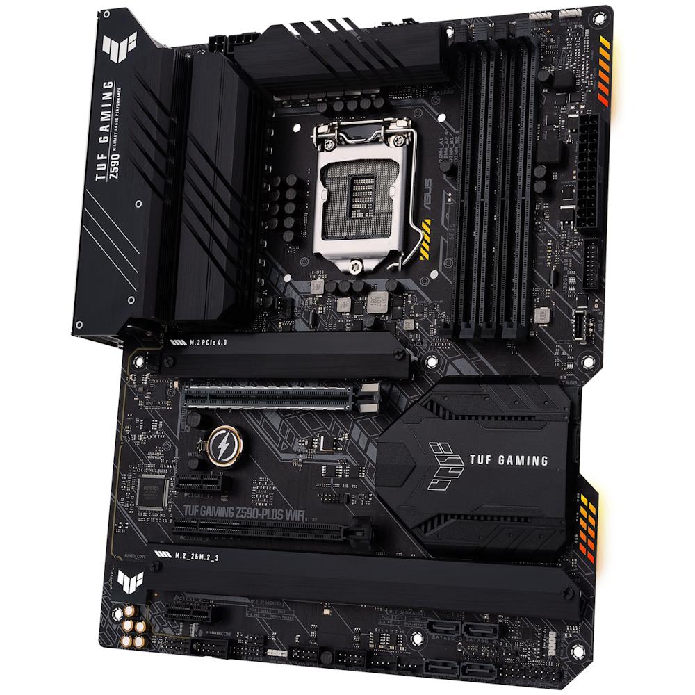 A large main feature product image of ASUS TUF GAMING Z590-PLUS WIFI LGA1200 ATX Desktop Motherboard