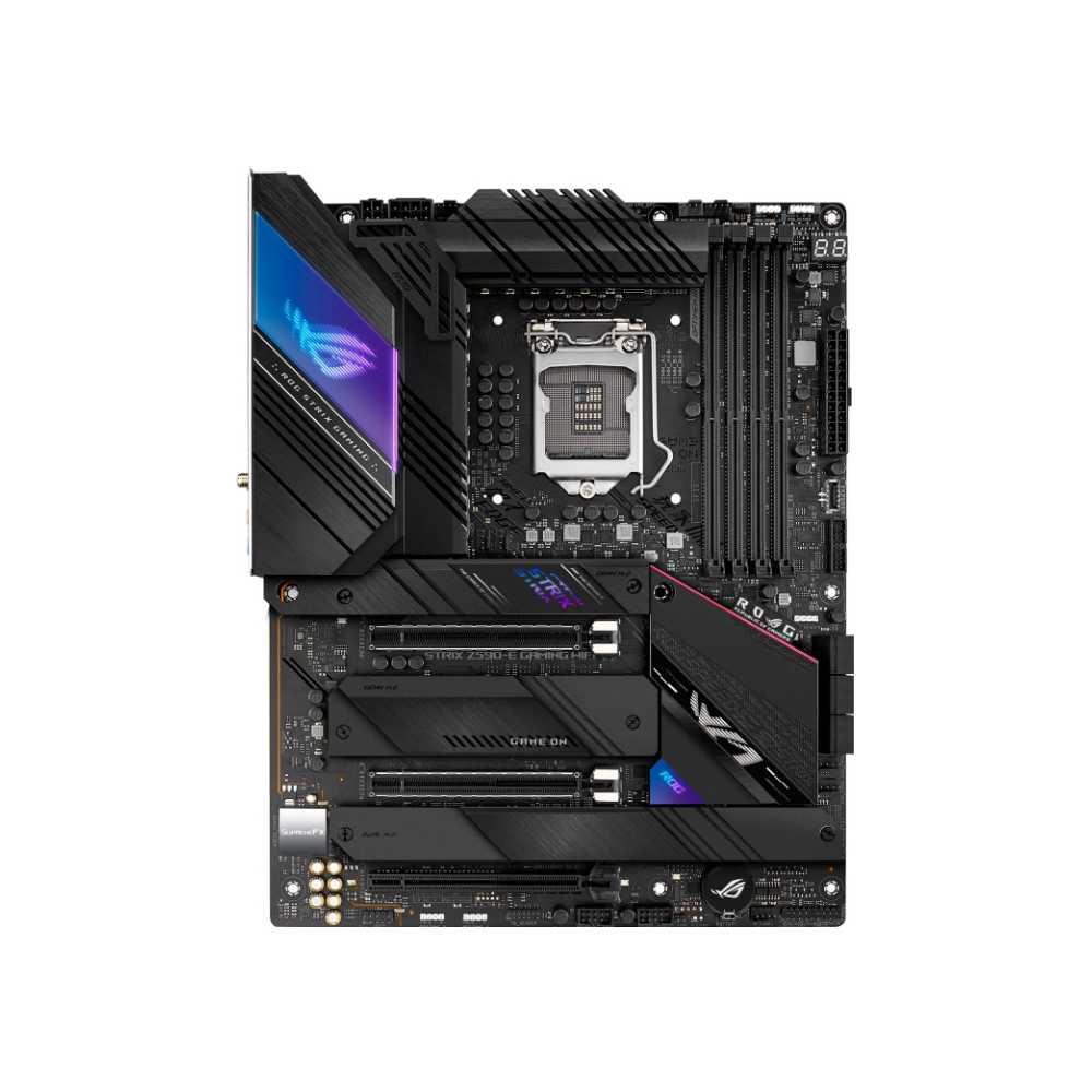 A large main feature product image of ASUS ROG STRIX Z590-E GAMING WIFI LGA1200 ATX Desktop Motherboard