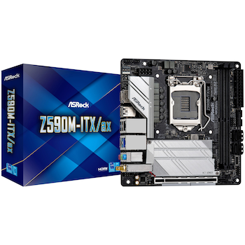 Product image of ASRock Z590M-ITX/ax LGA1200 mITX Desktop Motherboard - Click for product page of ASRock Z590M-ITX/ax LGA1200 mITX Desktop Motherboard