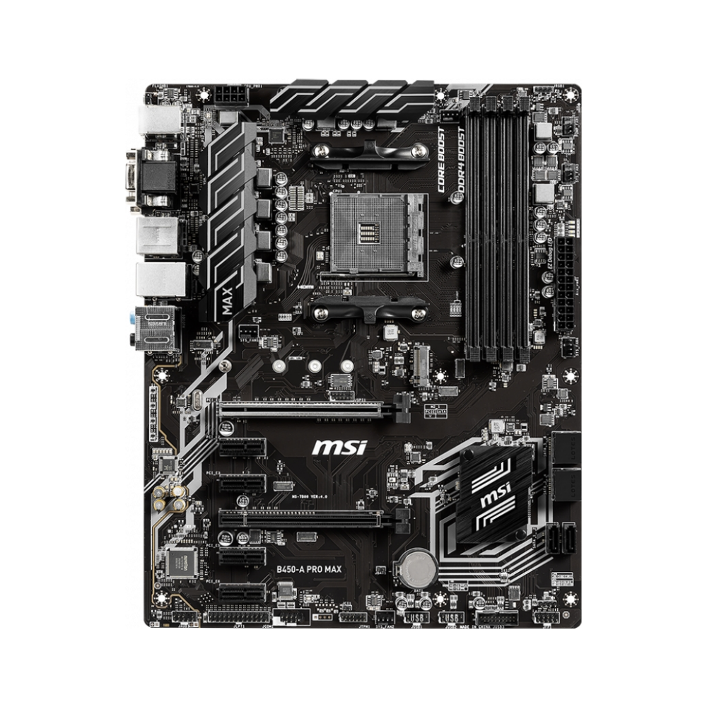 A large main feature product image of MSI B450-A Pro MAX AM4 ATX Desktop Motherboard