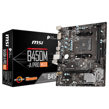 Product image of MSI B450M-A PRO MAX AM4 mATX Desktop Motherboard - Click for product page of MSI B450M-A PRO MAX AM4 mATX Desktop Motherboard