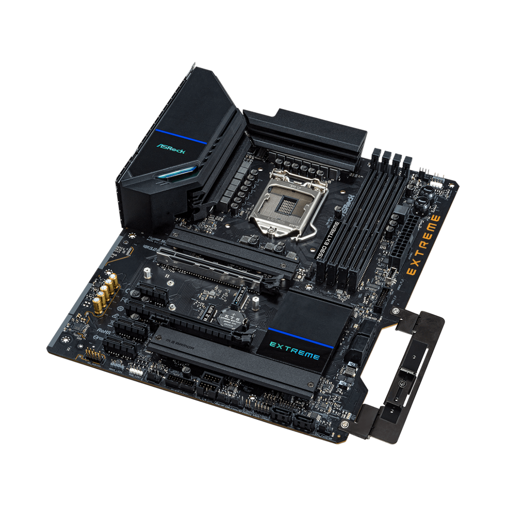 A large main feature product image of ASRock Z590 Extreme LGA1200 ATX Desktop Motherboard