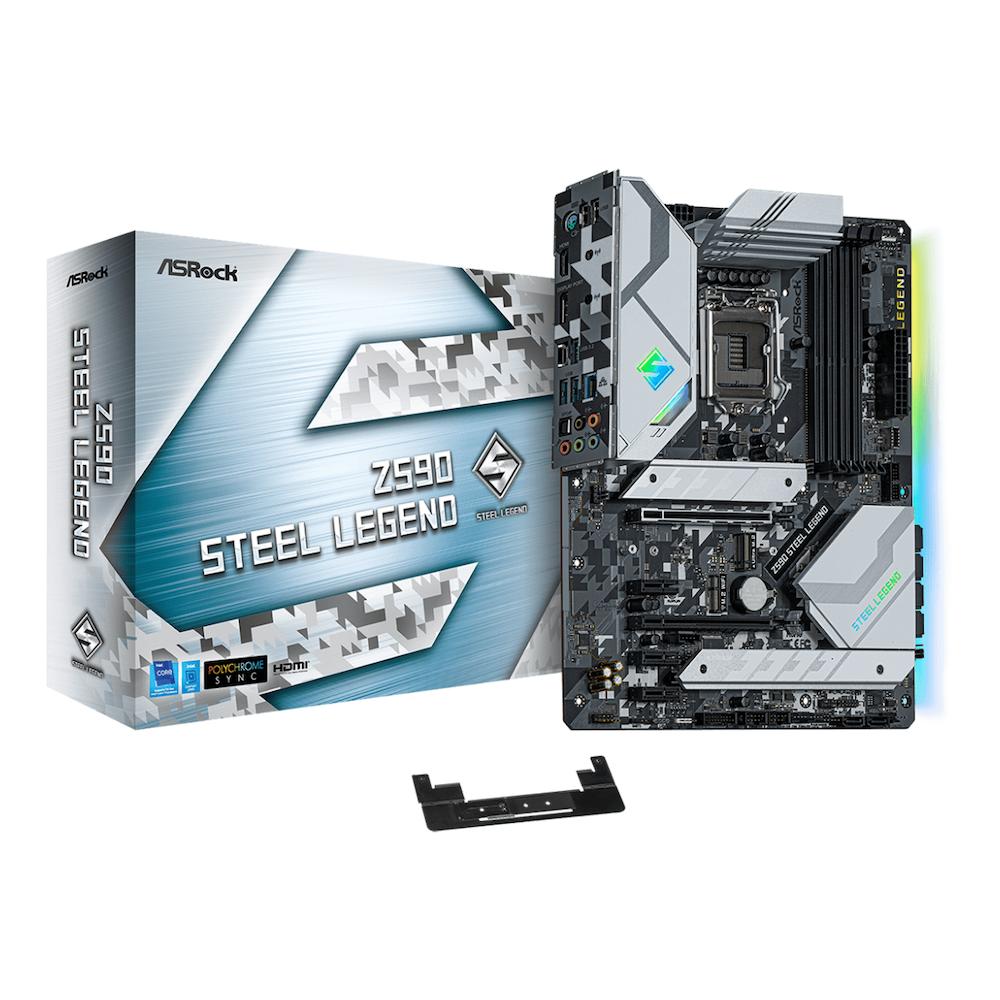 A large main feature product image of ASRock Z590 Steel Legend LGA1200 ATX Desktop Motherboard