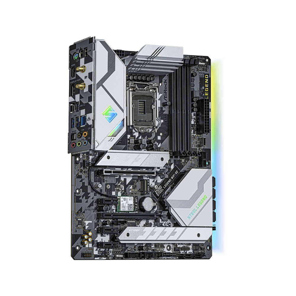 A large main feature product image of ASRock Z590 Steel Legend WiFi 6E LGA1200 ATX Desktop Motherboard