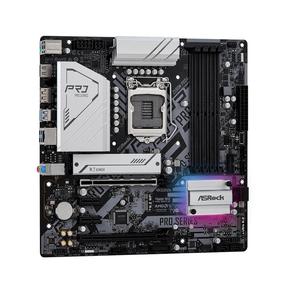 A large main feature product image of ASRock Z590M Pro4 LGA1200 mATX Desktop Motherboard
