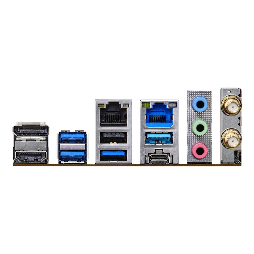 A large main feature product image of ASRock Z590M-ITX/ax LGA1200 mITX Desktop Motherboard