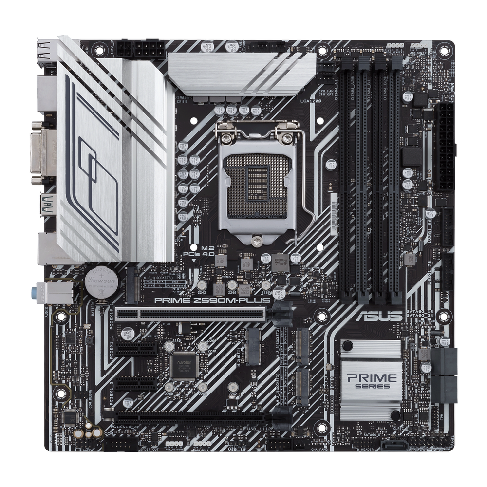 A large main feature product image of ASUS PRIME Z590M-PLUS LGA1200 mATX Desktop Motherboard