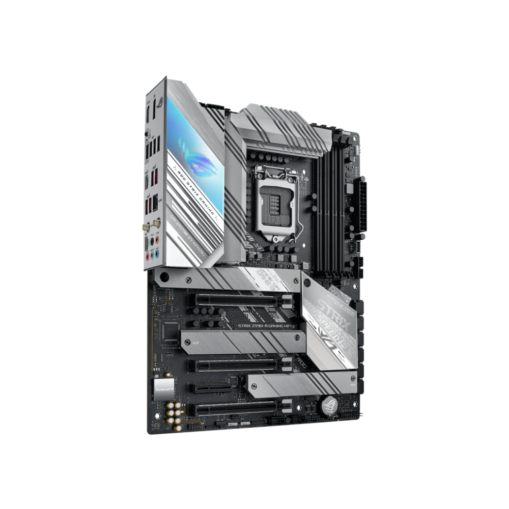 A large main feature product image of ASUS ROG STRIX Z590-A GAMING WIFI LGA1200 ATX Desktop Motherboard