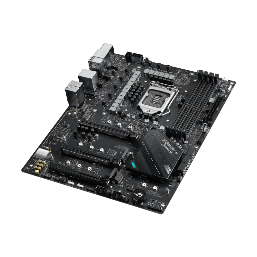 A large main feature product image of ASUS ROG STRIX Z590-F GAMING WIFI LGA1200 ATX Desktop Motherboard