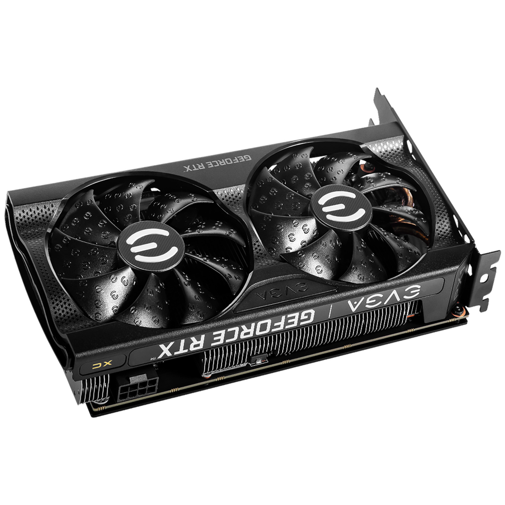 A large main feature product image of eVGA GeForce RTX 3060 XC 12G GDDR6