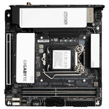 Product image of Gigabyte Z590I Vision D LGA1200 mITX Desktop Motherboard - Click for product page of Gigabyte Z590I Vision D LGA1200 mITX Desktop Motherboard